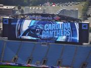 The new video screens at the Carolina Panthers' uptown Charlotte stadium are 2.5 times the size of the old ones.
