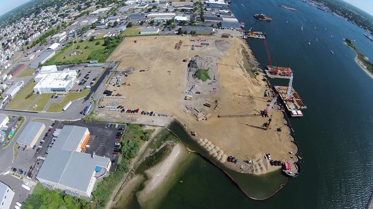 The state's $100 million shipping terminal in New Bedford is roughly 70 percent complete.