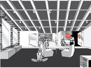 A rendering of the lounge area at Mojo Cycling Studio.