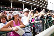 Fans cheer on their horses in the American Turf.