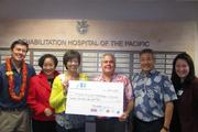 The Rehabilitation Hospital of the Pacific Foundation received $25,000 from Alexander & Baldwin in support of the hospital's capital campaign. From left: Son-Jai Paik, vice president of human resources; Janice Luke Loo, vice chairwoman of the foundation's board of directors;  Meredith Ching, senior vice president of government & community relations at A&B;  Dr. Timothy Roe, president and CEO of the Rehabilitation Hospital of the Pacific;  John Komeiji, chairman of the hospital's board; and Jean Nakanishi, executive director of the foundation.