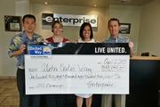 The Enterprise, Alamo and National car rental brands and their more than 500 employees on Oahu raised $138,839 to support Aloha United Way's 2013 Campaign. From left, Jeff Onouye and Dee Lim of Enterprise Group, Kim Gennaula of Aloha United Way and Chris Sbarbaro, vice president - Enterprise Hawaii Sales & Marketing, External Affairs.
