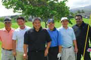 From left, Dean Okimoto, Hide Sakurai, Chef Alan Wong, Conrad Nonaka, Alec Sou and Halekulani Chef Vikram Garg participate in the 15th Annual Hawaii Culinary Education Foundation Charity Golf Tournament, sponsored by Young's Market Company of Hawaii and American Express, at the Kapolei Golf Course.