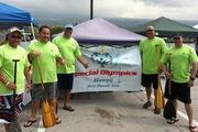 The Hawaii Community Federal Credit Union sponsored the Kona Police Department's masters crew in the recent 25th Annual Law Enforcement Canoe Regatta held at the Kailua Pier. From left, Officer Jeffery Hirai, Detective Sean Smith, Capt. Richard Sherlock, Officer William Vickery and Officer Steven Burkey.