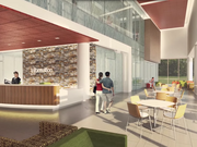 A rendering of an interior view of the new Holy Cross Germantown Hospital being constructed near Montgomery College in Germantown. The hospital is planning to open Oct. 1 and will employ 580 people.