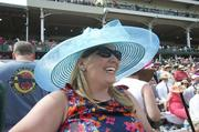Megan Herde sports a fashionable hat at the Kentucky Oaks.