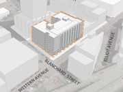 This shows the early design of a 160-unit residential project, the Natasha, at 2134 Western Ave., in Seattle.