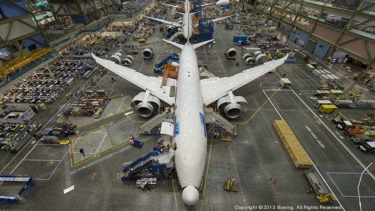 Titanium accounts for about 15 percent of the weight of a 787, according to Teal Group Analyst Richard Aboulafia. Photo is of Everett assembly line.