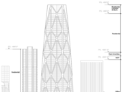 An architectural sketch of the two towers at First and Mission.