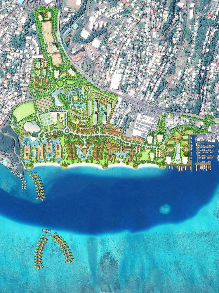 This rendering shows the site plan of a $3 billion resort development project in Tahiti. Hawaii-based Group 70 International won the design contract for the project.