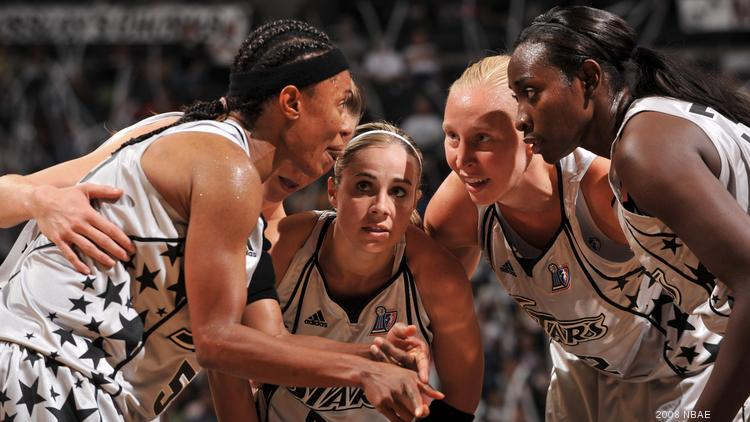 Becky Hammon has announced plans to retire from the WNBA. In this Oct. 3, 2008 file photo at the AT&T Center, San Antonio Stars players Ann Wauters #12, Sophia Young #33, Vickie Johnson #55, Hammon #25 and Erin Buescher #7 prepares against the Detroit Shock during Game Two of the WNBA Finals in San Antonio.