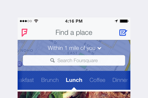 New Foursquare homescreen
