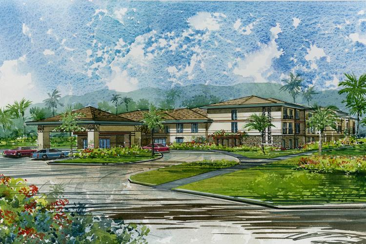 This rendering shows the proposed Courtyard by Marriott hotel being developed on the site of the former Laie Inn on the North Shore of Oahu. Developer Laie Ventures LLC says work on the project is scheduled to start in the next couple of weeks.