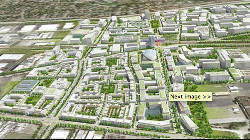 A conceptual rendering of the area near the Tesla factory in Fremont shows a mixed-use district with houses, offices and industrial facilities.