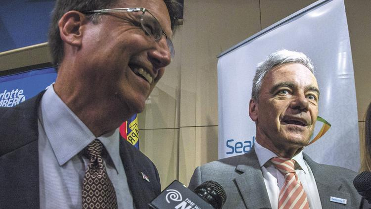 Gov. Pat McCrory (left) and Sealed Air CEO Jerome Peribere