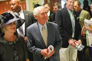 Kentucky Gov. Steve Beshear and his wife, Jane, arrived on Millionaire's Row at Churchill Downs on Derby Day.