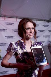 Fashion model Coco Rocha spoke with reporters on the red carpet.
