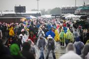 Ponchos are the attire of choice in the Churchill Downs infield this Derby Day.