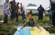 Derby fans in the infield had fun with a Slip 'n Slide.