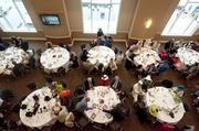 The main dining room at the Churchill Downs Jockey Club Suites.