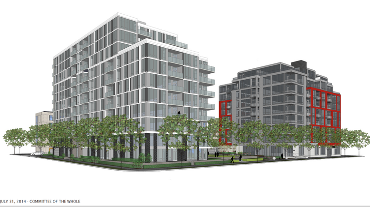 A Rendering Of The Encore Luxury Apartments (left) Next To The Existing  Zenith Condominiums
