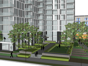 One of the amenities of The Encore would be an outdoor dog run that would also be available to residents of the neighboring Zenith Condominiums. The rendering is looking south from Gold Medal Park along South Second Street.