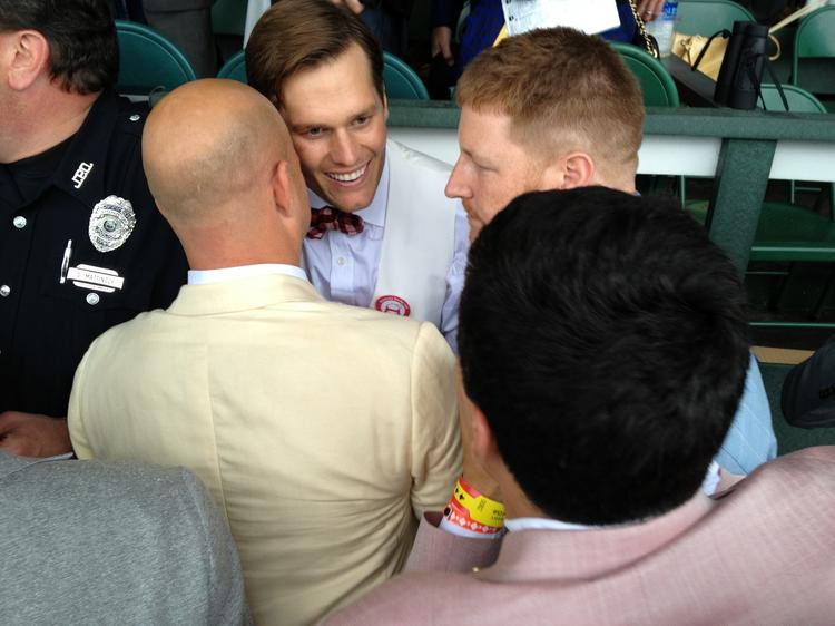 Tom Brady came to the box of Orb's connections after the Kentucky Derby to congratulate them on the victory. ( Click here to see more celebrities who came to Louisville for Derby.)
