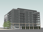 A view of the southeast facade of developer Curt Gunsbury's proposed residential project in the North Loop
