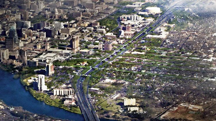 There might be a few more skyscrapers along the highway and perhaps not as many treetops, but this rendering from the Reconnect Austin group shows how I-35 could seemlessly snake through downtown if it was depressed with more bridges built over it.
