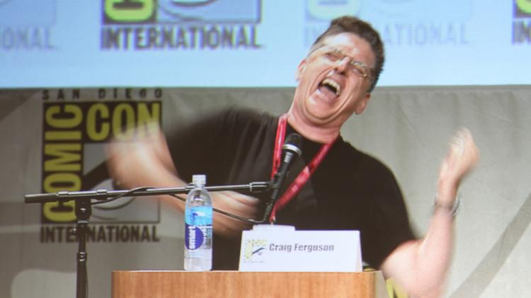 Craig Ferguson was either a dream come true or a nightmare emcee for the DreamWorks Animation panel, here demonstrating how he would have voiced the studio's signature character Shrek.