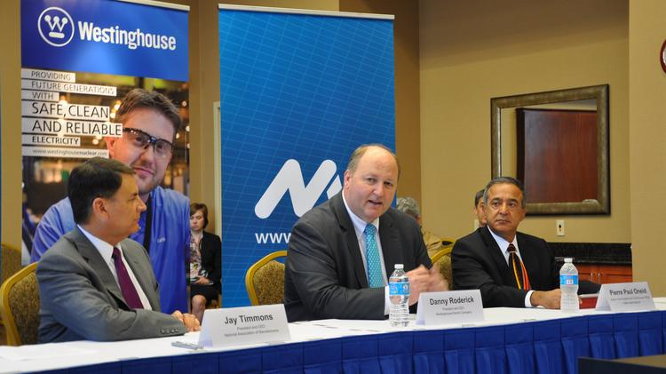 Jay Timmons, president and CEO of the NAM, Danny Roderick, president and CEO of Westinghouse Electric Co., and Pierre Paul Oneid, senior vice president and chief nuclear officer at Holtec International Corp. speak Friday at a roundtable discussion on the Export-Import Bank.