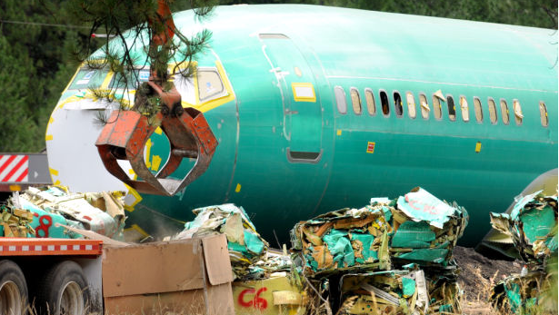 Each Boeing 737 fuselage has been compacted into about 15 bales of aluminum and other metal.