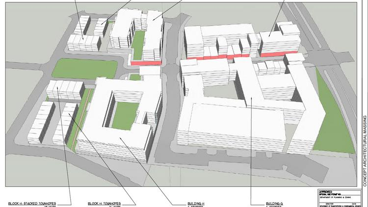 A proposed massing plan for JBG's Beauregard Town Center, with Beauregard Street on the right.