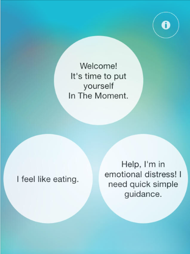 """A screenshot from the iOS version of Kim Flannery's """"In the Moment"""" mindful eating mobile app."""