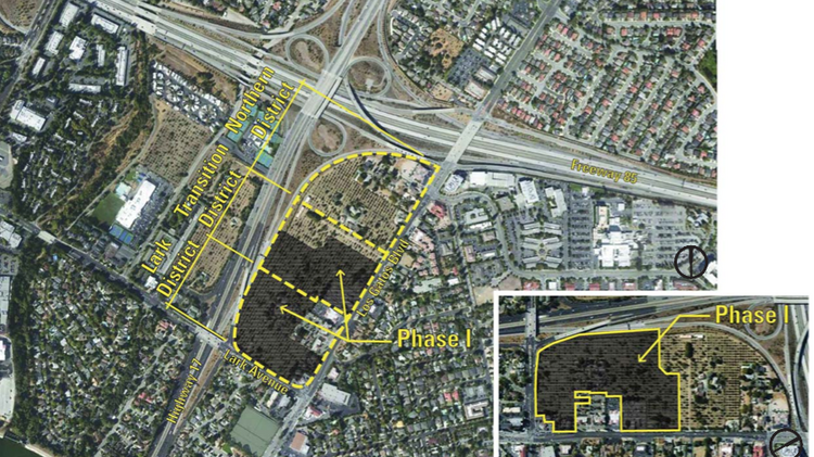 """An aerial map of the """"North 40"""" area of Los Gatos. The outlined area is the planning zone; the darkened piece is the land under contract to Grosvenor. The town is currently considering approval of the new specific plan for the area, but the Grosvenor proposal looms large over the process."""