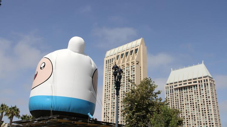 """Saturday, July 26—""""Adventure Time's"""" Finn loomed large of the Gaslamp District outside Comic-Con."""