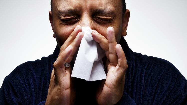 Sneezing Man, Suffering from cold and Flu
