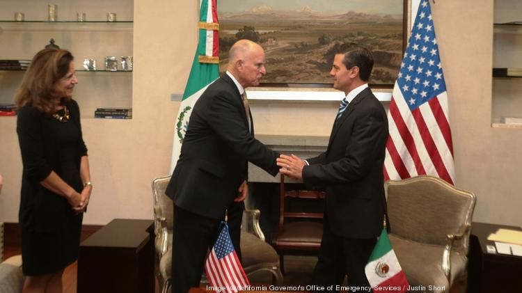 California first lady Anne Gust Brown and Gov. Jerry Brown meet with Mexico President Peña Nieto during a trade trip to Mexico.
