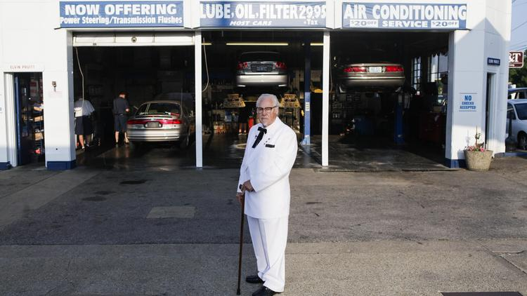 A Col. Harland Sanders impersonator waited for unsuspecting customers at Pruitt's in St. Matthews in late July.