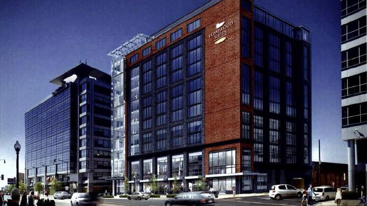 The latest rendering of the proposed Homewood Suites going into 50 M St. SE. The Zoning Commission approved the hotel Monday.