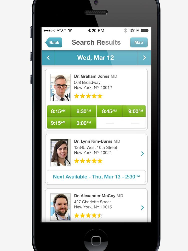 Patients can use ZocDoc Inc.'s website or mobile app to book appointments with primary care doctors, dentists and some specialists for free.
