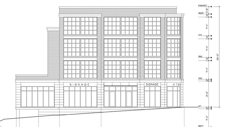 A rendering of developer Frank Economides planned four-story building at 4700 Wisconsin Ave. NW.