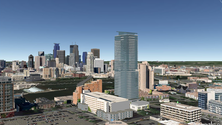 A rendering of a 40-story residential tower that Alatus has proposed in Minneapolis