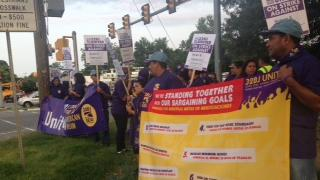 Janitors that work at Fort Belvoir in Fairfax County went on strike Tuesday morning, claiming that their employer refused to bargain in good faith.