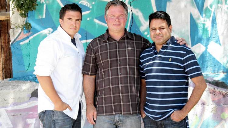 NewsCastic has garnered $350,000 in series A funding from two investors, its first major funding outside of friends and family. Pictured are founders Chris Ortiz, Eric Paradis and Mahesh Bajaj.