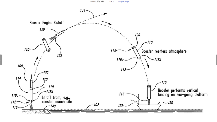An image from the patent shows how a Blue Origin launch vehicle would descend onto an offshore platform.