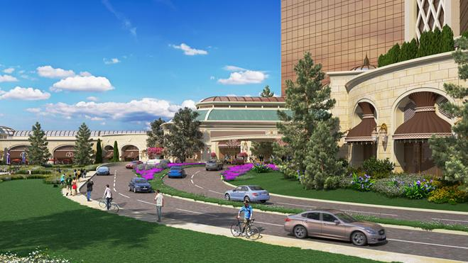 Wynn Resorts' preferred entrance to its proposed casino in Everett involves a four-lane driveway that skirts the Boston city line.
