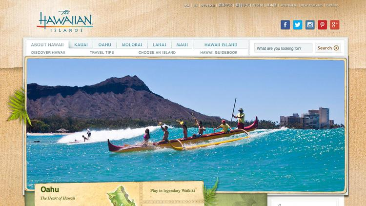 The homepage of the Hawaii Visitors and Convention Bureau makes it easy to share content about Hawaii on social media.