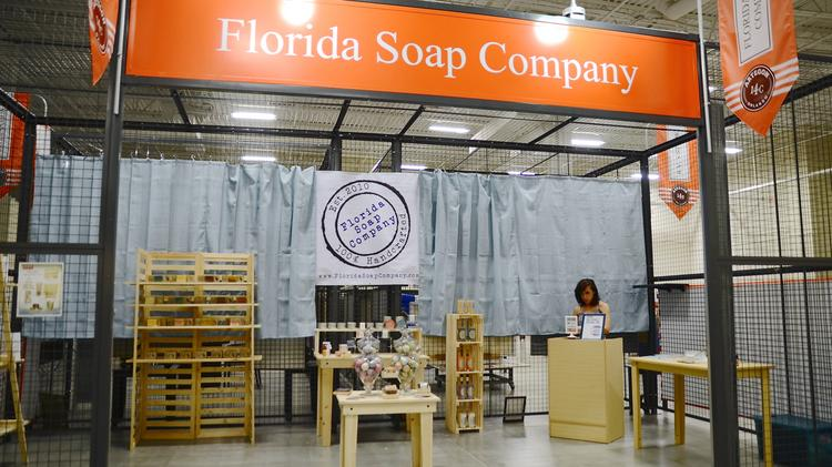 The Florida Soap Co. is one of the retailers that will be in Artegon's artisan marketplace by the October grand opening. Some mock-up booths were displayed during a seminar for local artists, hosted by Artegon.