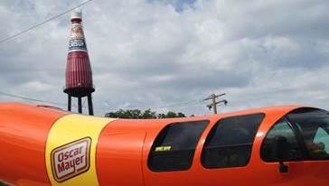 The Oscar Mayer wienermobile visited the the world's largest catsup bottle in Collinsville.